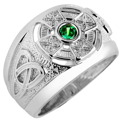 celtic ring s white gold celtic ring with emerald at