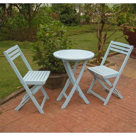 3 Pc Patio Set by 3 Pc Folding Patio Bistro Set In Blue Tt Vn 0158 Skb