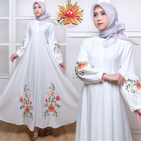 Newzara Dres Gamis Baloteli Kancing Busui baju gamis maxi baloteli c035 putih bordir busana muslim
