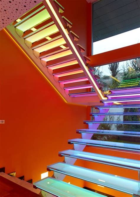 modern home interior with colorful led lighting modern home design with blue staircase lighting