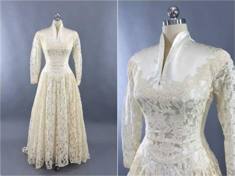 Vintage 1950s Wedding Dresses by Vintage 1950s Wedding Dress Ivory Lace Wedding Gown