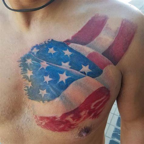 Chest Tattoo American Flag | american flag chest tattoo veteran ink