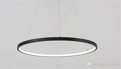 Dimmable Black Ring Pendant Lights 3/2/1 Circle Rings Acrylic Aluminum Led Lighting Ceiling Lamp
