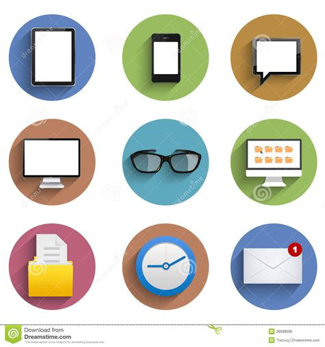 design my icon vector flat technology circle icon set eps10 royalty free