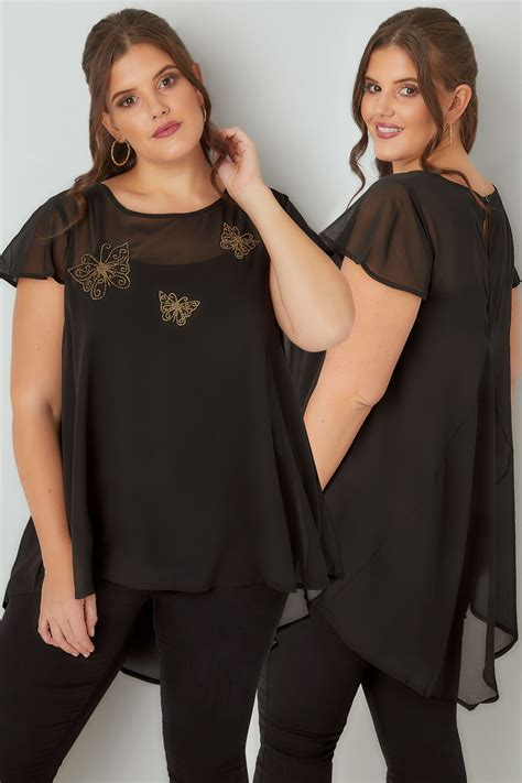 Hem Blac Fit L Gd Ld 96 black gold beaded butterfly swing top with dipped hem plus size 16 to 32