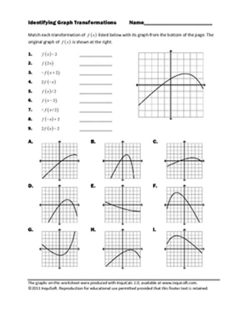 Graphing Transformations Worksheet by This Worksheet Asks Students To Match Nine Different