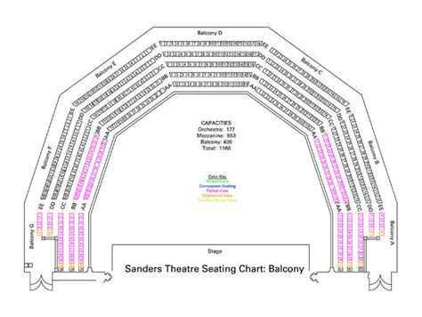 seating chart sanders theatre seating charts office for the arts at