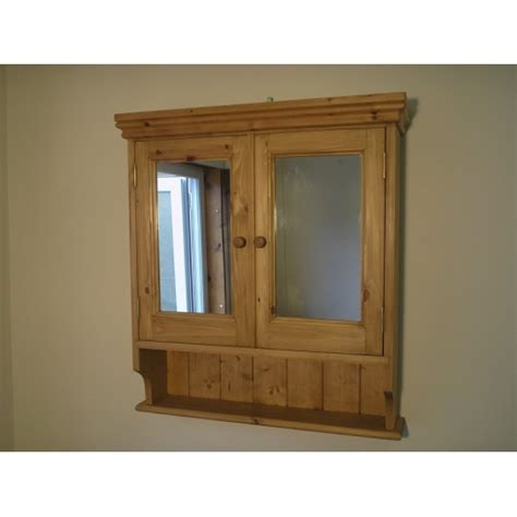 pine 2 door mirrored bathroom cabinet w65cm