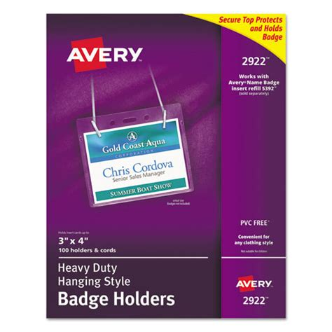 avery 2922 heavy duty secure top name badge holders
