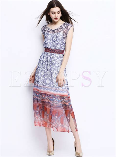 Ethnic Sleeveless Maxi Dress ethnic sleeveless nipped waist maxi dress ezpopsy