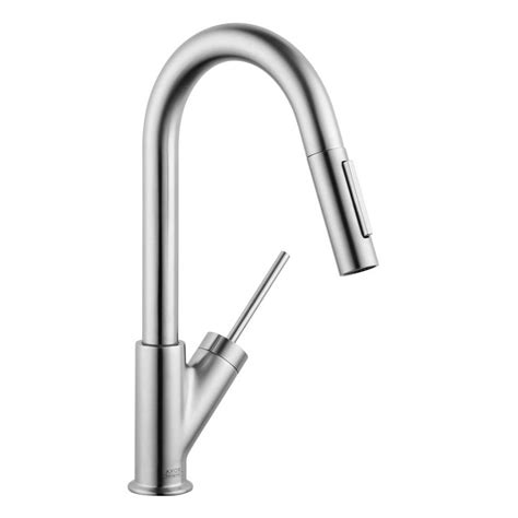 hansgrohe kitchen faucet reviews hansgrohe axor starck prep single handle pull sprayer kitchen faucet in steel optik