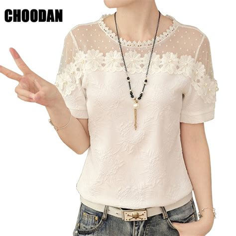 Korean Embroidery Blouse 3d beaded embroidery blouse shirt patchwork blouse