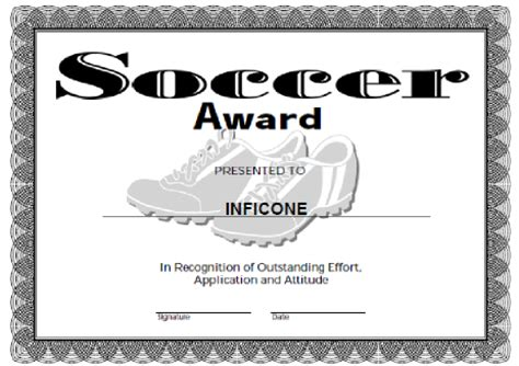 free soccer certificate templates soccer award certificate