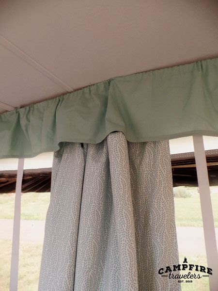 airstream curtain tabs replacing curtains in a pop up cer cfire travelers