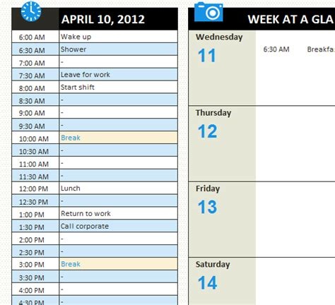 Personal Daily Schedule My Excel Templates Personal Schedule Template