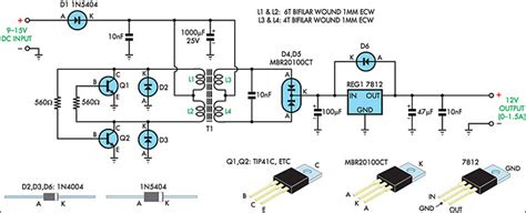 12v regulated inverter supply circuit diagram