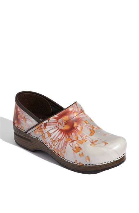clogs heels for dansko professional pink poppy clog in floral pink poppy