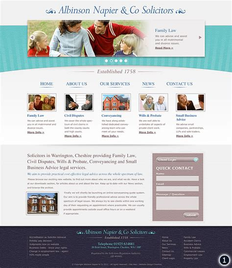 home page design sles new website design for albinson napier co warrington