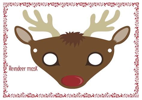 printable reindeer mask christmas coloring pages