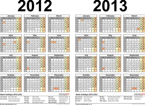 Calendar Of 2012 Two Year Calendars For 2012 2013 Uk For Excel