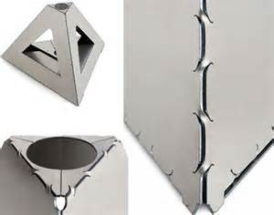 Origami Metal - metal origami flat pack sheets form strong shapes