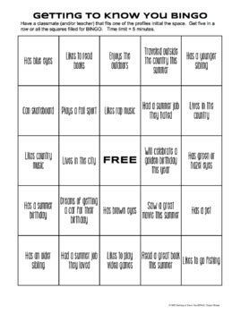 icebreaker high school bingo card template free bingo icebreaker beginning of year includes blank