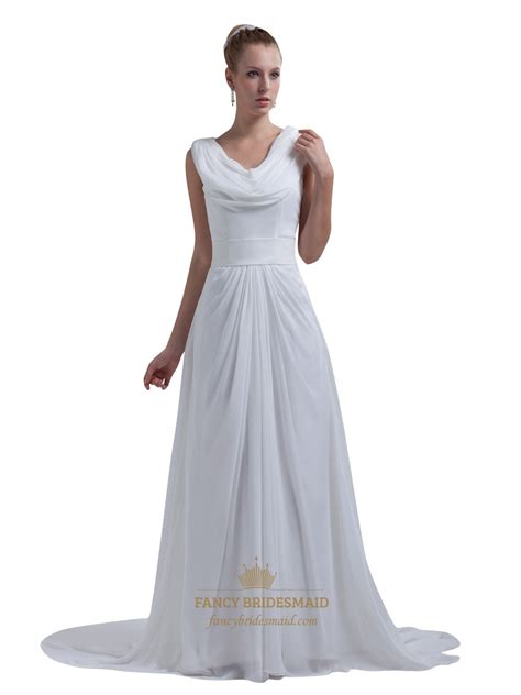White Floor Length Dresses by White Chiffon Cowl Neck And Back Floor Length Prom Dress