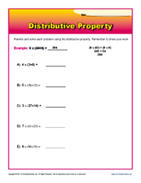 distributive property 3rd grade math worksheets