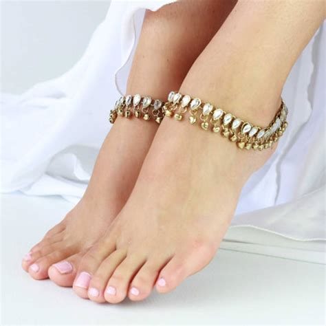 Designer Home Decor India by Buy Anklets Payal Pair Gold Plated Kundan Bells Online