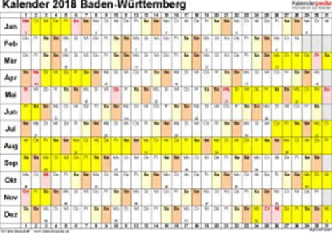Kalender 2018 Bw Kalender 2018 Baden W 252 Rttemberg Ferien Feiertage Excel