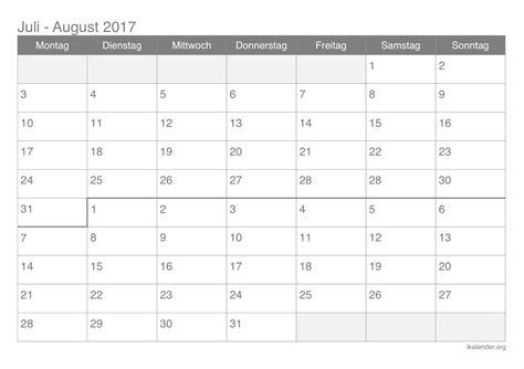Juli Kalender 2017 Kalender Juli August 2017 Zum Ausdrucken Ikalender Org
