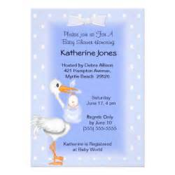 stork and baby boy shower invitations 5 quot x 7 quot invitation card zazzle