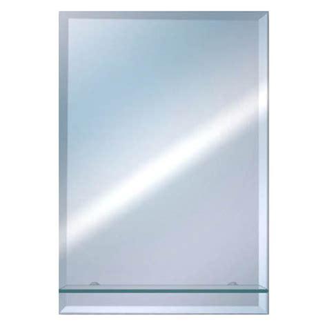 euroshowers rectangular bevelled mirror with glass shelf
