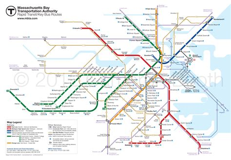 Boston Mta Map by Future Mbta Rapid Transit With Key Bus Routes Large
