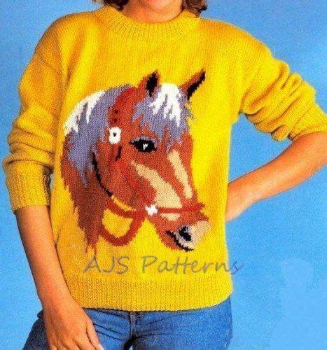 Knitting Pattern Horse Sweater | pdf knitting pattern horse horse s head motif sweater in
