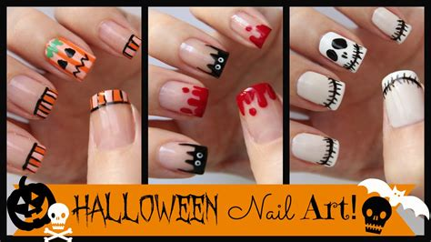 nail art tutorial missjenfabulous halloween nail art three french manicure designs