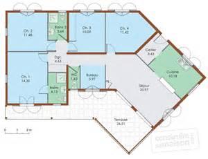 plan de plain pied 4 chambres en v