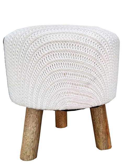 Low Foot Stool by Handmade Wooden Low Knitted Ottoman Foot Stool Linen