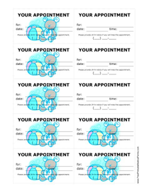 free pediatrician business card template printable pediatrician appointment treatment reminder cards