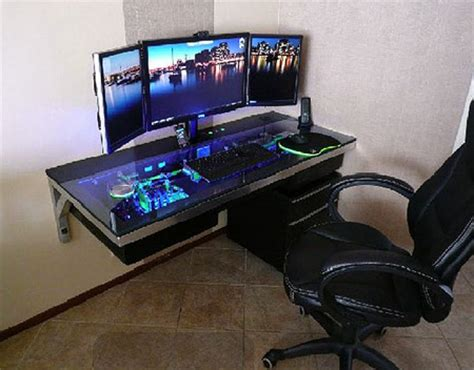 Liquid Cooled Desk by Awesome Liquid Cooled Computer Built Directly Into A Desk