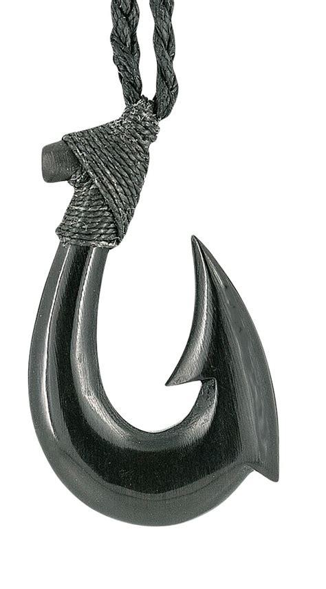 maori hawaiian black horn hei matau hand carved fishhook