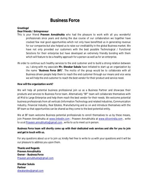 Introduction Letter To A Business Partner Business Introduction Letter