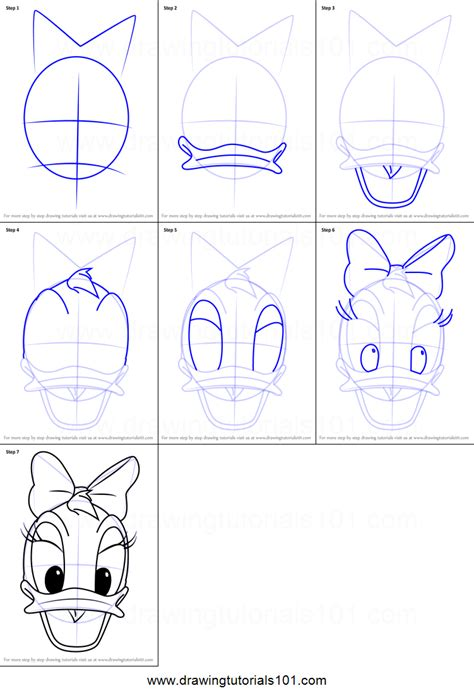 draw daisy duck face  mickey mouse clubhouse