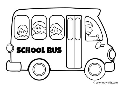 school bus coloring page for kids transportation