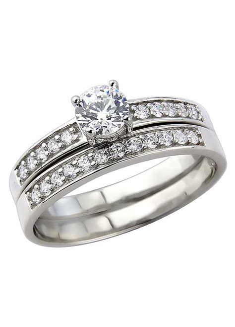 platinum plated silver cz two part dress ring look again