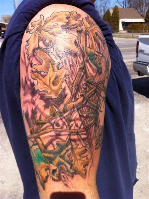 realtree camo tattoo camo real wood camo half sleeve electric