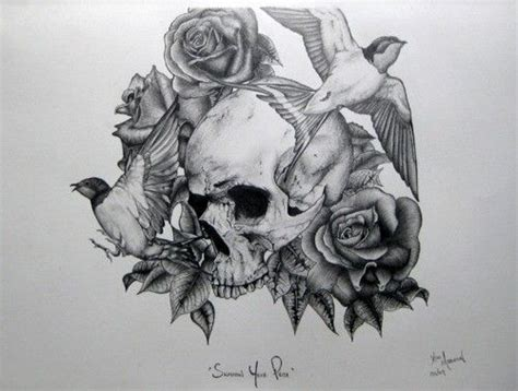 skull rose and bird tattoo skull bird and awesome drawing sketch black