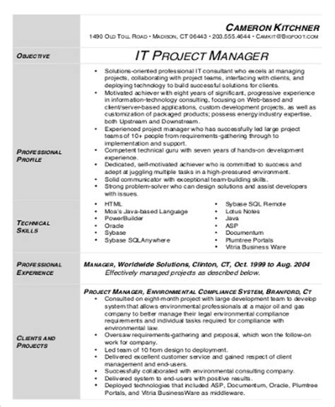 Resume Project Manager Pdf Sle It Project Manager Resume 9 Exles In Word Pdf