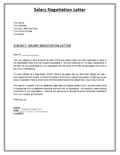 salary negotiation letter is a formal archive composed by the employee in order to inform the