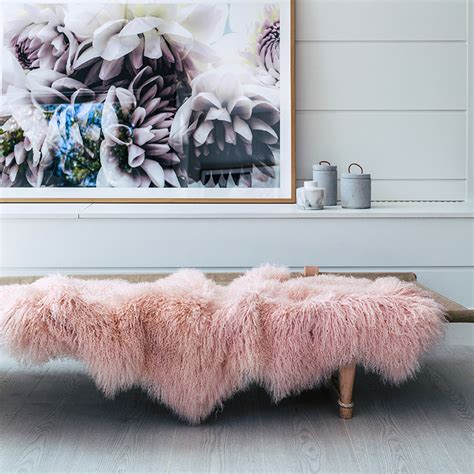 Pink Grey Rug Throw Rugs Blush Mongolian Sheepskin Hides Of Excellence